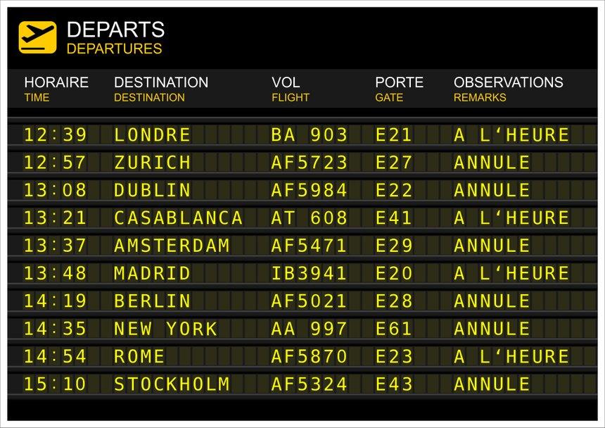 Tableau des départs de vols