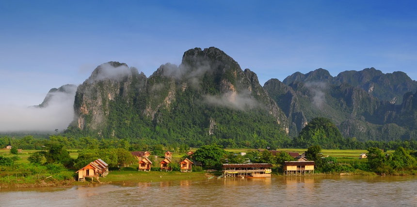 View of Vang Vieng, Laos