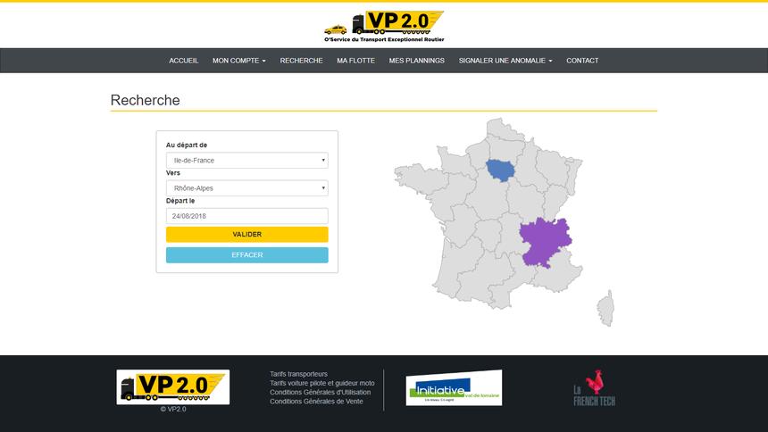 La page d'accueil pour les utilisateurs de VP2.0