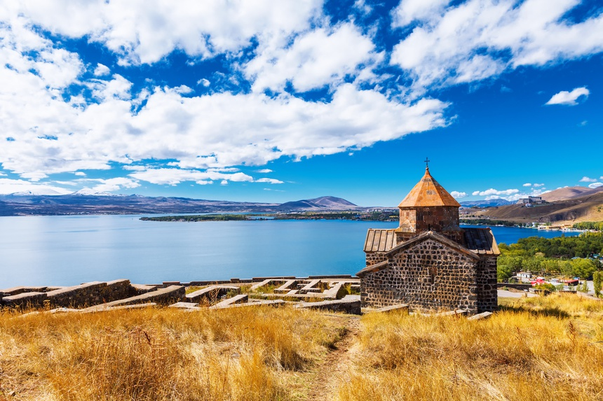 Scenic view of an old Sevanavank church in Sevan, Armenia