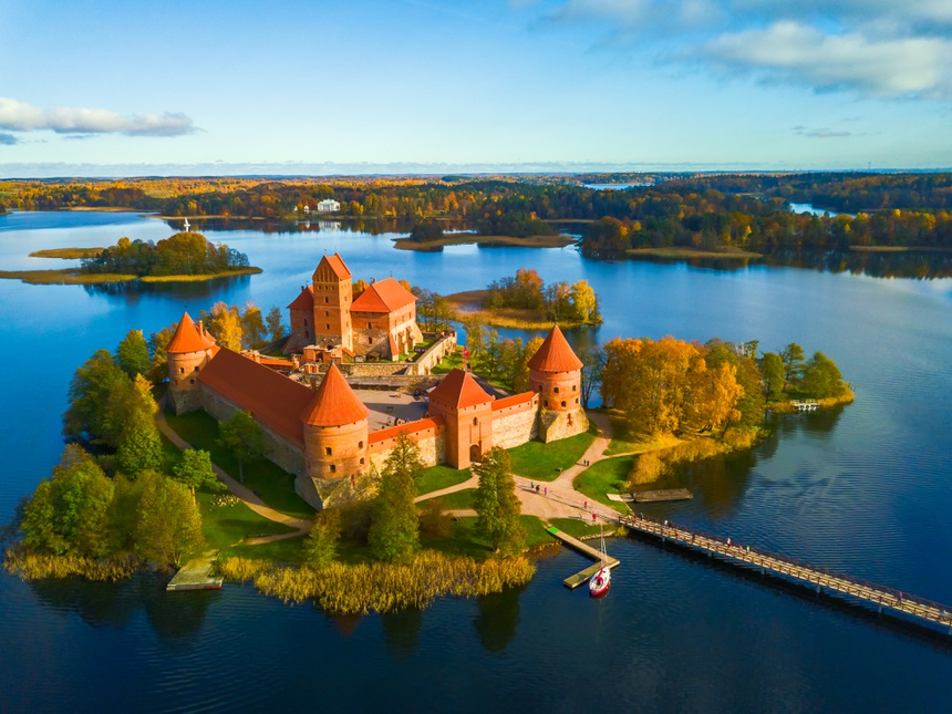 Beautiful drone landscape image of Trakai castle