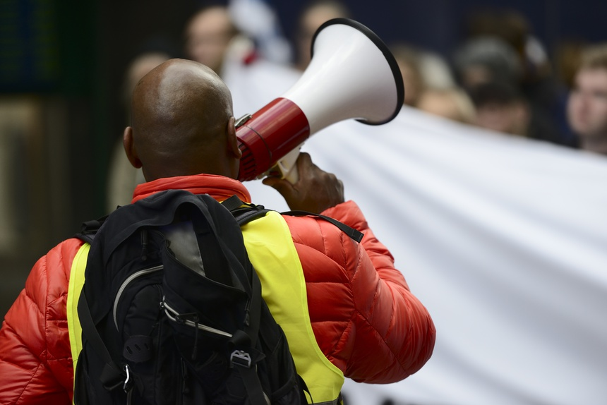activist with the megaphone
