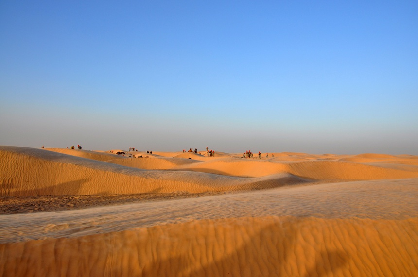 Sunset in the Sahara desert, Tunisia