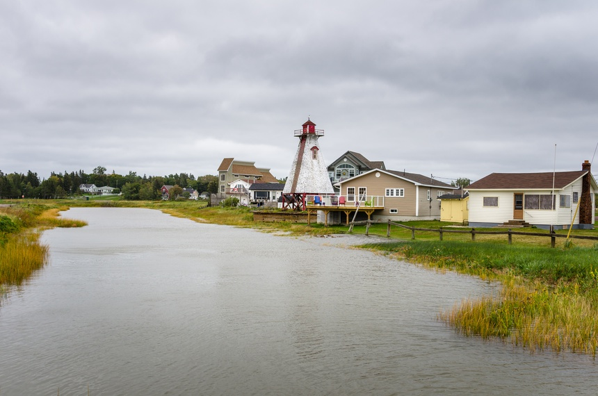 Seaside Village in Canada on a Cloudy Autumn Day