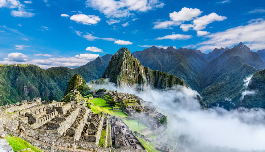 Overview of Machu Picchu, agriculture terraces and Wayna Picchu