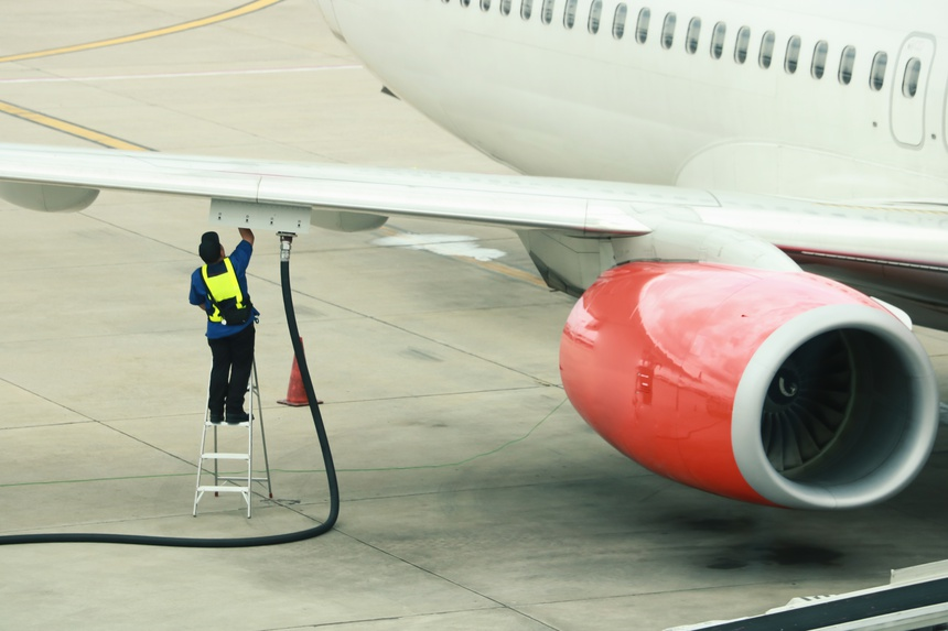 Refueling of the aircraft at the airport