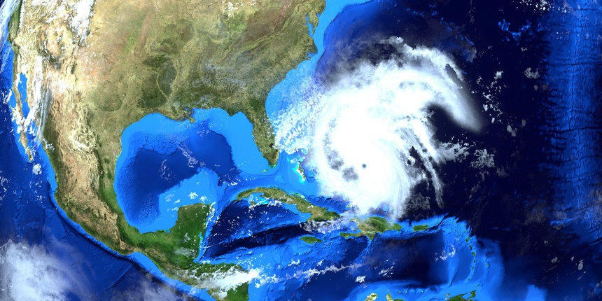 Extremely detailed and realistic high resolution 3d illustration of Hurricane Dorian approaching the US east coast. Shot from Space. Elements of this image are furnished by NASA.