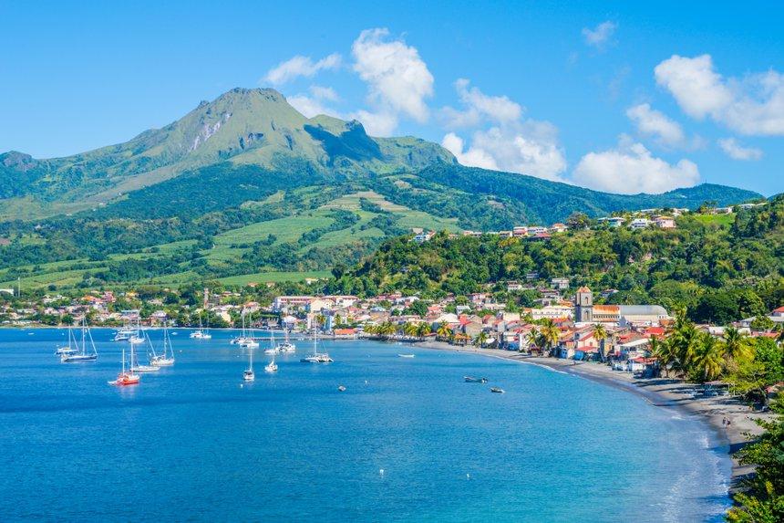 Saint Pierre Caribbean bay in Martinique beside Mount Pelée vol