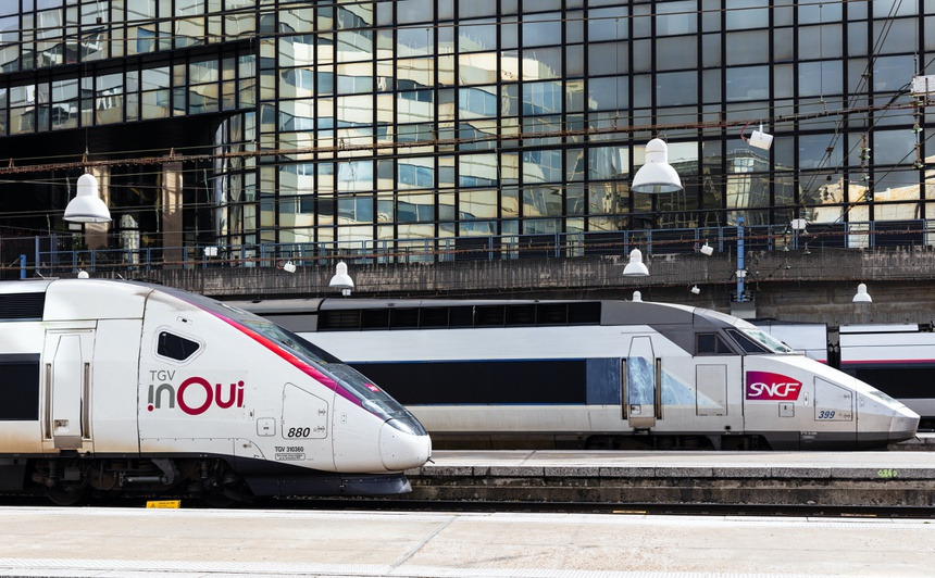 Paris, France, parked high speed trains in gare Montparnasse