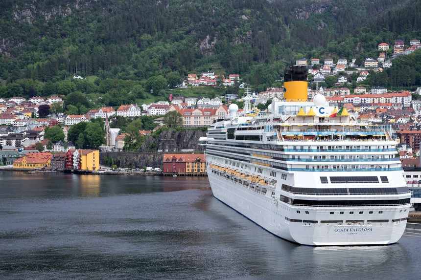 BERGEN, NORWAY - June 6, 2017: COSTA FAVOLOSA at Bontelabo cruise dock. Costa Cruises is an Italian cruise line, based in Genoa and under control of the Carnival Corporation & plc.