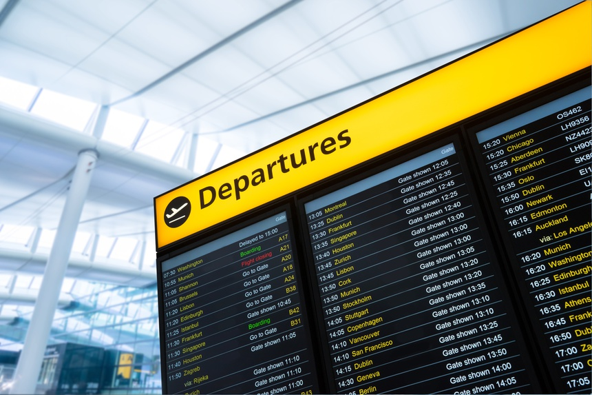 Flight information, arrival, departure at the airport, London, E