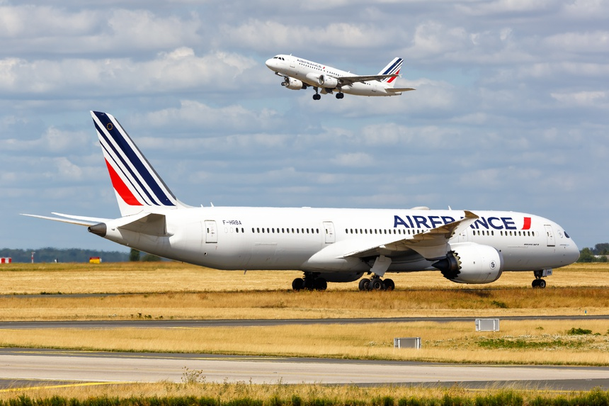 Air France Boeing and Airbus airplanes Paris Charles de Gaulle airport