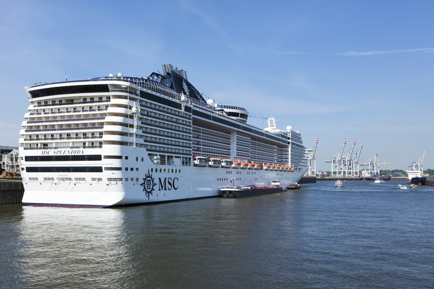 Hamburg, Germany - May 19, 2016: Cruise ship MSC Splendida at Steinwerder terminal in the port of Hamburg, where it is refueled by a supply vessel.