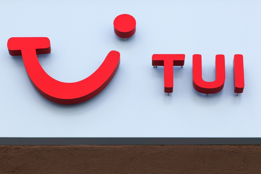 Voiron, France - June 1, 2018: Tui logo on a wall. Tui is a Anglo-German travel and tourism company headquartered in Hannover, Germany