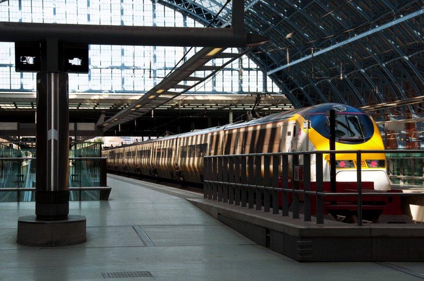 LONDON, UK - CIRCA MARCH 2012: A Eurostar train at St Pancras International station.