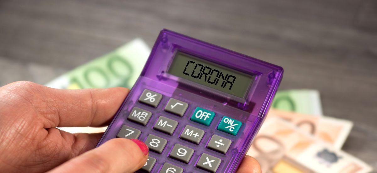 Euro Geldscheine und Kosten für Corona Epidemie