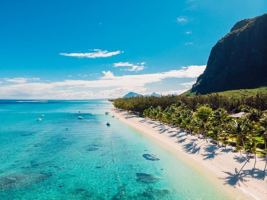 Luxury beach with mountain in Mauritius. Sandy beach with palms and ocean. Aerial view