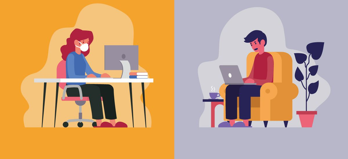 Vector illustration of two workers telecommuting