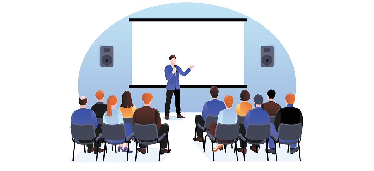 People at the seminar, presentation, conference. Vector illustra