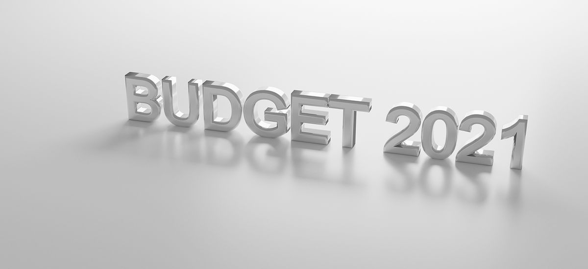 budget 2021 on white  background Concept for budget year 2021. 3