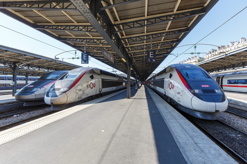 TGV high-speed trains Paris Est railway station in France