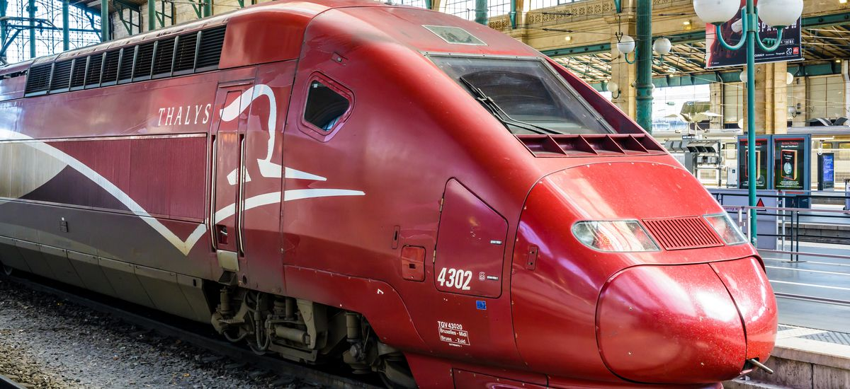 Paris, France - April 6, 2018: View of the head of a Thalys high-speed train, developed by Alstom and run by the european consortium Thalys International, stationed in the Gare du Nord station.