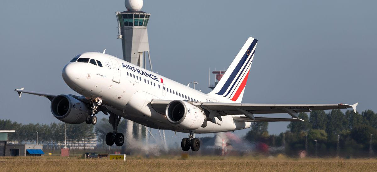 VIJFHUIZEN, THE NETHERLANDS - June 28, 2019: French Air France Airbus A318-100 with registration F-GUGR just airborne at Amsterdam Airport Schiphol.