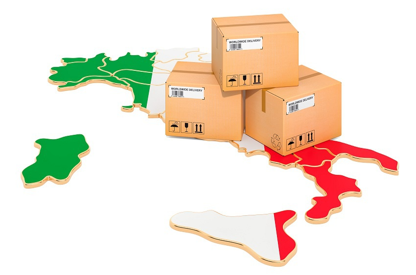 Parcels on the Italian map. Shipping in Italy, concept. 3D rendering