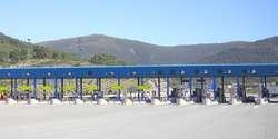 Highway road toll gate Madrid Spain