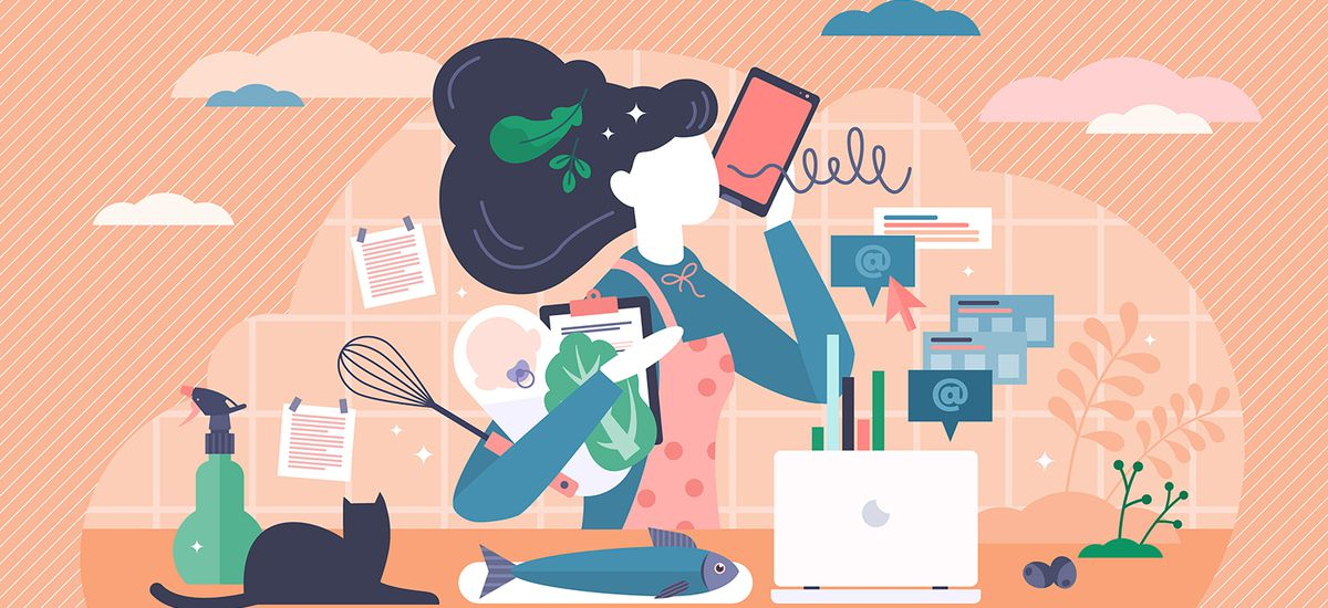 Multitasking busy mom at home concept, vector illustration tiny